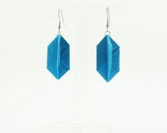 Bijou en origami. Boucles d'oreilles en origami Hexa turquoise (autres couleurs disponibles). Fait-main. Commandes personnalisées.
