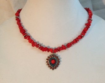 Red Coral & Turquoise Necklace
