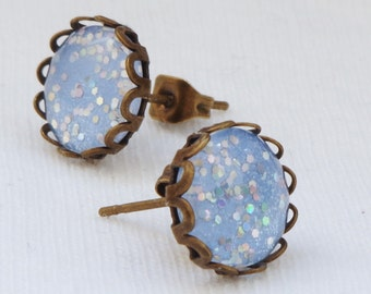 Earrings Ice Crystal Blue