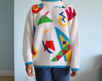 Size medium vintage white shapes sweater made in hong kong