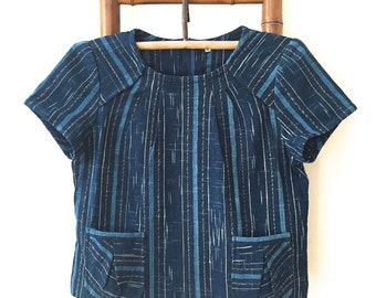 Natural Indigo dyed hand spun & hand woven top with petit patch pockets - IB4