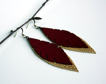 Red Leather Feather Earrings - Long Leather Earring - Leaf Leather Earring - Boho Earring - Beige Leather Earring - Recycled Leather Jewelry