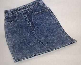 VTG 80s Jean St Tropez Denim Skirt xs High Waist Acid Wash USA 100% Cotton