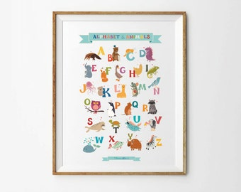 Alphabet & Animals, 8 x 10 , 11 x 14 in, Alphabet print, Alphabet art, ABC art, Nursery letters, Playroom Decor, Nursery Alphabet