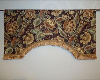 "Mill Creek Aurelia Java Mahogany Brown Damask Jacobean Valance Teal Amber Gold Floral Designer Brush Trim 44"" Wide"