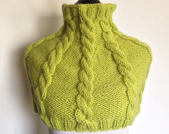 Women's Knitted Cabled Wool Capelet / Poncho / Neck Warmer / Cowl - Green