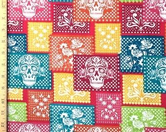 Festive Sugar Skull Paper Mache Fabric, Sugar Skull Cotton Fabric, The Day of the Dead Fabric
