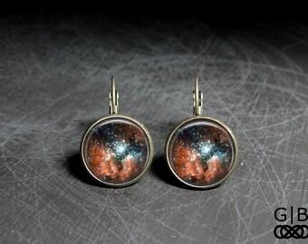 Dark Orange Earrings Dark Orange Matter Earrings Dark Galaxy Earrings Orange Galaxy Earrings - Dark Orange Jewelry Dark Galaxy Dangles