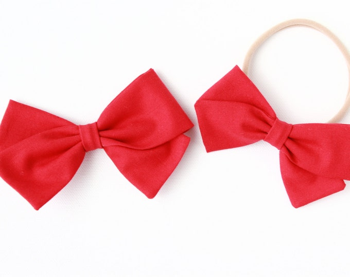 Red Hair Bow - For Babies and Girls - Nylon Headbands and Hair Clips