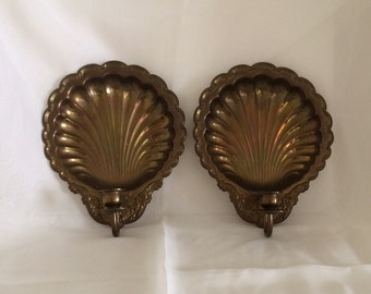 Vintage Brass Shell Sconce Set