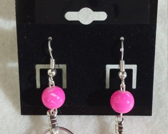 Hot Pink Glass Beads Small hoops Earrings