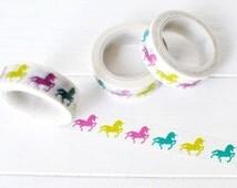 Unicorn Washi Tape. 15mm x 10m. Colorful Unicorns. Magical Washi Tape. Masking Tape.