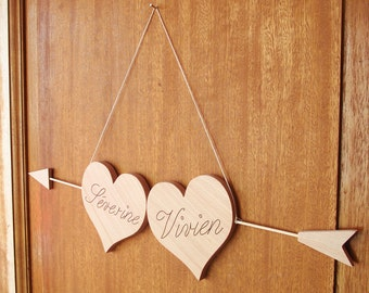 Hearts wooden with arrow, full custom ideal wedding gift, direction marriage Panel, decoration, sign