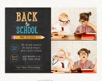 Back to school mini session template, Photoshop Templates for Photographers, Marketing board, Kids, Photography marketing templates, fall
