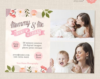 Mothers Day Mini Sessions, Mommy and Me Mini Session Template, Marketing Board, Photoshop Template, Photography Marketing Set, Family Mini
