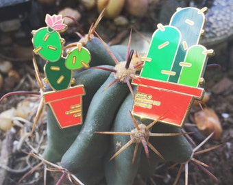 "CACTUS PACK Lapel Pins - 1.25"" Hard Enamel Pin / Hat Pin - 2 Pack Cactus Enamel Pins - Succulent Pin"