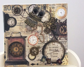 Steampunk 3D style canvas using mixed media