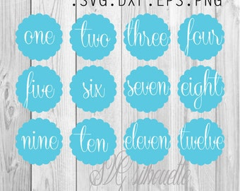 SVG Monthly Baby Sticker, Baby Month Stickers, Milestone Stickers, Baby Boy & Girl, Baby Shower Gift, files for Silhouette, Cricut