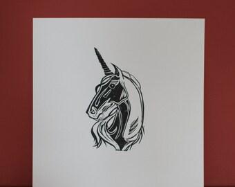 UNICORN // Handmade Lino Print