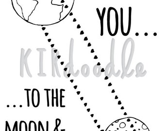 A4 'I Love You to the Moon and Back' Print
