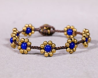 Royal blue bracelet, Gold flower Bracelet,Brass beads bracelet, Beaded Bracelet, B-27