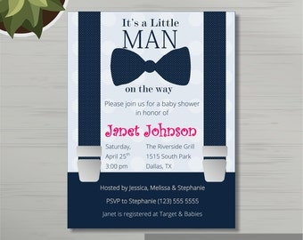 Printable Baby Boy Shower Invitation Template in MS Word + Thank You Card , Boy Shower Card. Printed invitations. DIY Instant Download