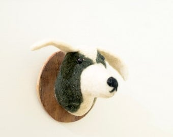 Cute Wool Hand Felted Mounted Puppy Dog Head with Wood Plaque - Kids - Faux Taxidermy -Stuffed Animal