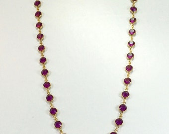 "Raindrops Necklace - Amethyst/Gold 36"" Swarovski crystal"