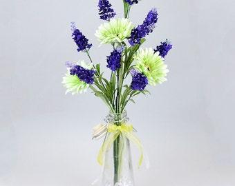Lime Gerbera  & Purple Lavender Artificial Flower Arrangement With Vase (53cm)