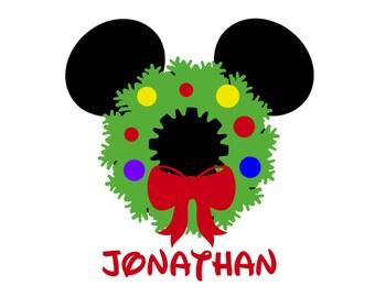 Personalized Mickey Mouse Wreath Disney Christmas Matching Disney Family Husband Wife Disney Iron On Vinyl 4 Shirt 178