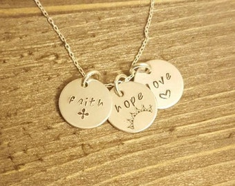 Faith Hope love necklace,  hand stamped