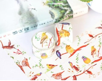 Finch bird washi tape 10M x 3cm blue bird canary bird EXTRA WIDE deco masking tape singing bird decor sticker cute bird scrapbook gift