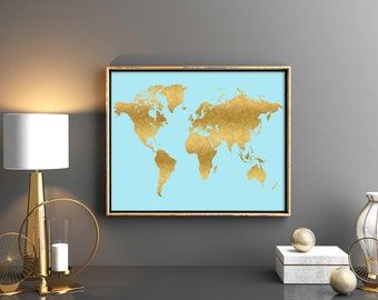 Instant download world map Large world map artwork Gold world map World map digital Instant download world map Gold and blue decor 24x36