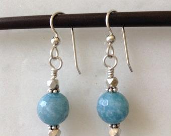 Blue Quartz Sterling Silver Earrings, Round Blue Earrings, Sterling Silver,  Gift for her