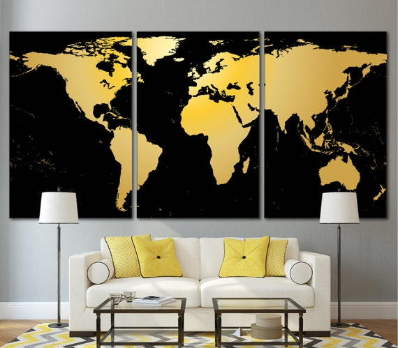 Wall Art Black Gold : World map wall decor black and gold photo on