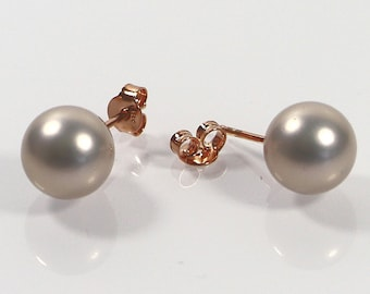 Gold Pink Pearl Post Earrings, 10mm Shell Pearl Earrings, Made in Italy Sterling 925, Rose Gold Plated Silver Stud Earrings, Gift For Her