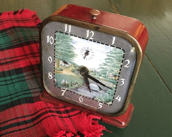 Vintage Red Clock, Lux Clock Mfg Co, Rare River Scene Clock, Retro Clock With Scenery Front, Alarm Clock, Unique Clock, Clock and Alarm Work
