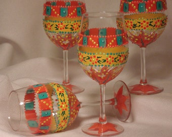 4 Fiesta Wine Glasses, Party Glasses, Festive Wine Glasses, Happy Wine Glasses, Hand Painted Wine Glasses,