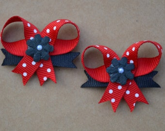 Red and Black Snap On Dog Bow Set