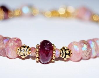 Muskovite, Pink Tourmaline and Gold Vermeil Bracelet