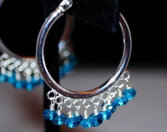Blue Quartz Sterling Silver Hoop Earrings
