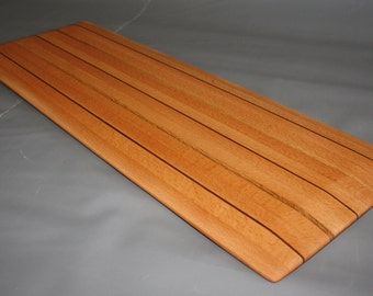 Handcrafted Edge Grain Birch Cheese Board / Charcuterie Board with Oak & Walnut Pinstripes and Tapered Edges (31 x 11 x 1)
