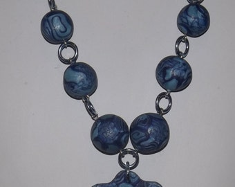 Polymer clay necklace with silver chain, Blue with pendant, handmade beads