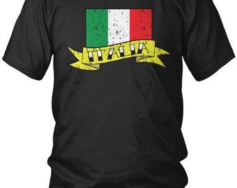 Distressed Italy Banner Country Flag Men's T-Shirt, Italian Pride, Italia, Nationality, Men's Italy Shirts AMD_ITA_07