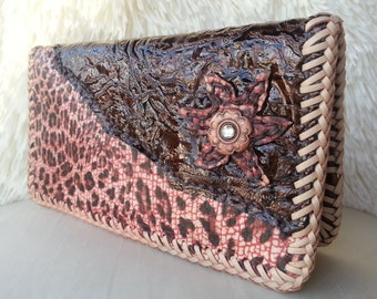 REDUCED!  Luxurious Exotic Long Leather Wallet, 5 Card Slot/4 Pocket Leather Interior, Handlaced w/Premium Australian Leather Lace