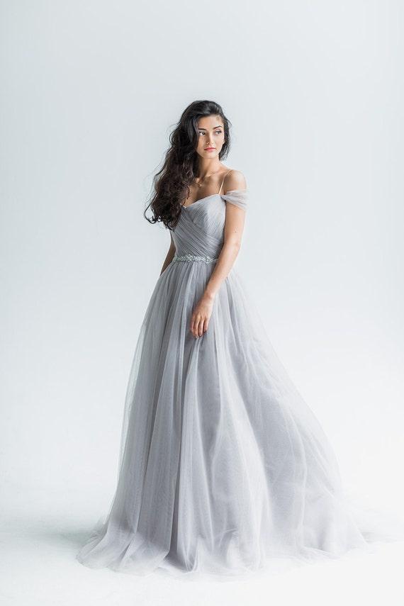 Wedding dress trudy off shoulder wedding dress grey tull for Trudy s wedding dresses
