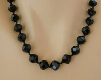 Vintage 50s Black Chrystal Beaded Choker Necklace, Mid Century, Costume Jewelry, Adjustable, Free Shipping