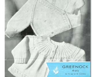 Vintage Pattern Greenock Knitted Raglan Crossover and Coat with round yoke PDF Download