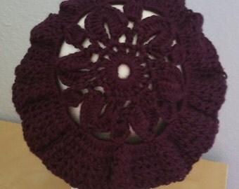 Purple Flower Tam Hat