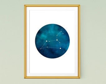 Leo zodiac art, Printable poster, Leo constellation print, Astrology art